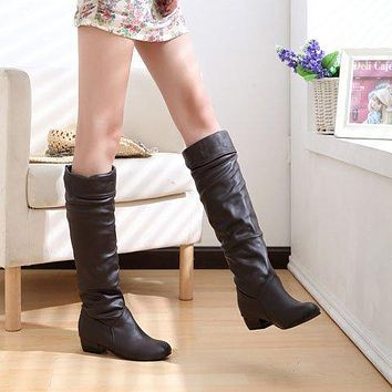 Slim Boots Sexy Over The Knee High Suede Women Snow Boots Women Fashion Winter Thigh High Boots Shoes
