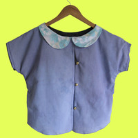 Blue Button Down Top with Peter Pan Collar
