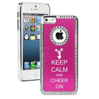 Apple iPhone 5 5S Hot Pink 5S1137 Rhinestone Crystal Bling Aluminum Plated Hard Case Cover Keep Calm and Cheer On