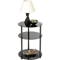 Convenience Concepts Midnight Classic Glass Three Tier Round Accent Table, Metal & Black Glass - Walmart.com