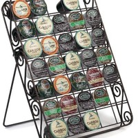 Universal K-cup Storage Rack 35 Capacity Can Be Used on Countertop, Inside Drawer or Mount on Wall, Hammered Bronze Scroll Design