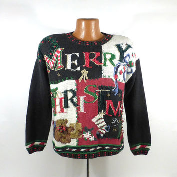 Ugly Christmas Sweater Vintage 1990s Merry S Holiday Tacky Xmas Party