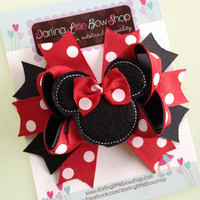 Minnie Mouse Bow - Classic red and black Minnie Mouse Bow - Darling Little Bow Shop