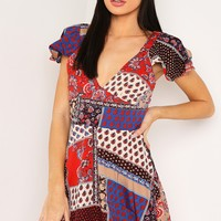 RED PRINTED V NECK TEA DRESS