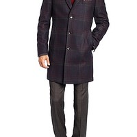 'The Logan'   Virgin Wool Blend Water Repellent Coat with Detachable Stand Collar by BOSS