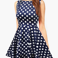 Navy Blue Polka Dot Sleeveless Skater Dress