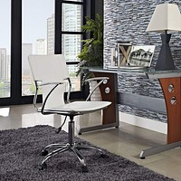 Studio Faux Leather Swivel Task Office Chair,White By Modway