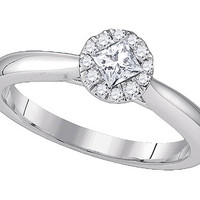 Diamond Bridal Ring with 0.25ct Center Princess Stone in 14k White Gold 0.37 ctw