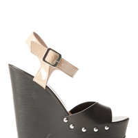 Faux Leather Open Toe Sandal Wedge