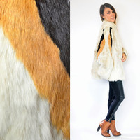 AVANT GARDE rabbit fur chubby STRIPED glam luxe boho jacket coat, extra small-large