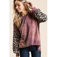 Plum and Leopard Top