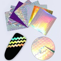 8 Sheets Adhesive Holographic 3D Nail Sticker Ultra Thin Laser Holo Wave Line Nail Foil Decal Nail Art Decoration Manicure Paper