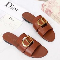 Hipgirls Dior New Fashion Solid Color Leather Shoes Flip Flop Slippers Brown