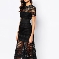Self Portrait Cutwork Layered Dress