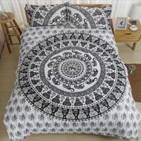 Bohemia Style Black White Print Bedding Set 2/3pcs Microfiber Fabric Mandala Duvet Cover Pillow Shams Queen/California King Size