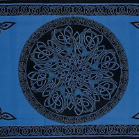 """SS07406 - India Arts Celtic Tapestry ~ Double & Full Sizes Available ~ 100% Cotton (Circle Blue, 68"""" X 102"""" Double)"""