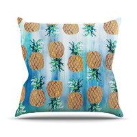 "Nikki Strange ""Pineapple Beach"" Blue Brown Outdoor Throw Pillow"