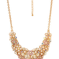 FOREVER 21 Fancy Stones Bib Necklace Gold/Pink One