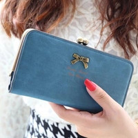 New Fashion Copper Buckle Clip Women Brand Wallet Hasp Cute Retro BowKnot Card Holder Bag Purse Clutch Coin Pocket