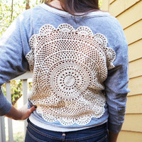 Women's Upcycled Crochet Doily Cut-Out Backless Sweatshirt