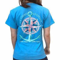 Southern Attitude Preppy Sea Compass Anchor T-Shirt