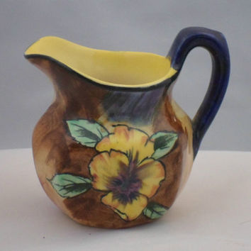 Hollinshead and Kirkham (H&K) Tunstall  jug / creamer in the Viola pattern. Classic hand painted 1930s Staffordshire pottery