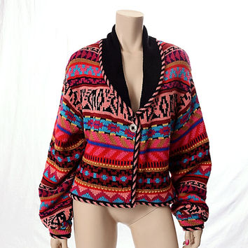 Vintage 80s Millers Southwestern Indian Cardigan Sweater size XL Colorful 1980s Wool Blend Shawl Collar Knit Boho Navajo Western Jacket