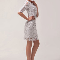 Light Gray  Cutout Mesh  Lace Mini Dress