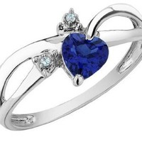 Created Sapphire Heart Ring with Diamonds 1/2 Carat (ctw) in 10K White Gold