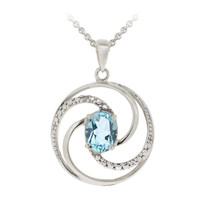 Sterling Silver 1.5ct Blue Topaz & Diamond Accent Swirl Circle Necklace