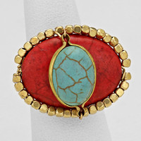 Cabochon Ring Antique Burnished Red Turquoise Stone