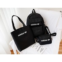 ADIDAS hot seller casual ladies shopping stylish canvas four-piece one-shoulder bag Black