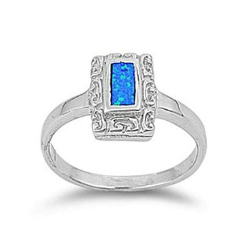 Rectangle Blue Lab Opal with Unique Swirl Pattern in Sterling Silver Band