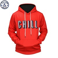 "Mr.BaoLong new men's drawstring hooded hoodies fashion letter ""Chill"" 3D printed pullover hooded sweatshirts man H67"