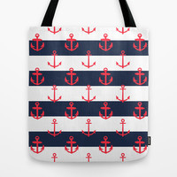 Red White and Blue Anchor Pattern Tote Bag by Pati Designs