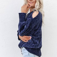 Holding You Midnight Blue Chenille Cold Shoulder Sweater
