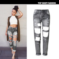 Strong Character Ripped Holes Boyfriend Denim Pants Cropped Pants [6365923268]
