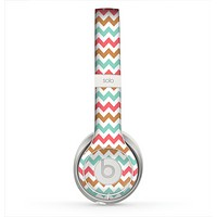 The Vintage Brown-Teal-Pink Chevron Pattern Skin for the Beats by Dre Solo 2 Headphones