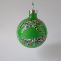 hand painted ornament, Dragonfly ornament, green Christmas ornament #376