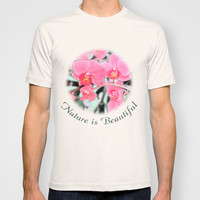 Lovely pink orchid flower color pencil sketch. floral photo art. T-shirt by NatureMatters