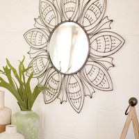 Raw Metal Floral Pattern Mirror