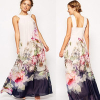 Elegant Women Sleeveless Floral Print Flower Maxi Dress Long Prom Gown Bodycon Dresses = 5738871489