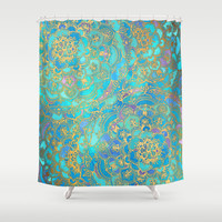 Sapphire & Jade Stained Glass Mandalas Shower Curtain by Micklyn