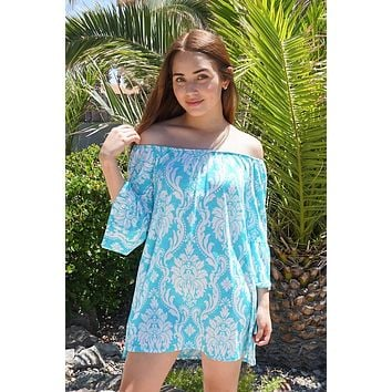 Romantic Fantasy Blue And White Print Off The Shoulder Dress