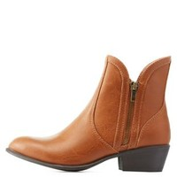 Cognac Side-Zipper Almond Toe Ankle Booties by Charlotte Russe