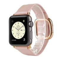 Watch Band for Apple Watch 38mm Modern Buckle Genuine Leather Replacement Band Strap