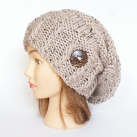 Tweed beige slouch hat women - beanies hat - Slouchy Beanie - hat - chunky hat - Chunky Knit Winter Fall Accessories , Slouchy hat button