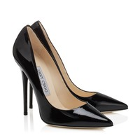 Black Patent Leather Pointy Toe Designer Pumps   Anouk   JIMMY CHOO Shoes