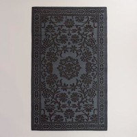 Black Floral Urban Floor Mat
