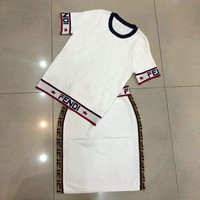 Fendi 2019 early spring new knit pullover hollow jacquard letter top + half skirt two-piece white